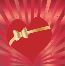 Heart With Golden Bow Royalty Free Stock Image