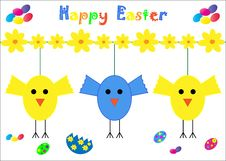 Happy Easter Card Chicks Stock Images