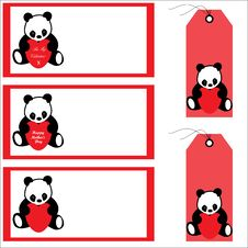 Panda Bear Banners And Labels Royalty Free Stock Photo