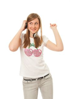 Free The Young Beautiful Girl With Headphones Stock Photography - 13931112