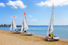 Several Boats With Sails Stock Photo