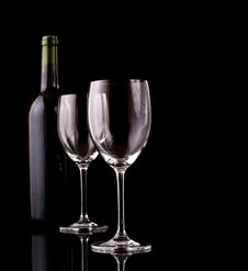 Free Bottle And Glass Of Red Wine Stock Images - 13932604