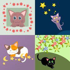 Free Cat Set Royalty Free Stock Image - 13932746