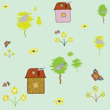 Free Seamless Pattern With House , Plants , Birds Stock Photos - 13935933