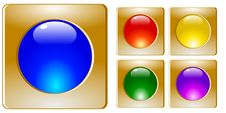 Free Set Of Golden Buttons Stock Photo - 13937520