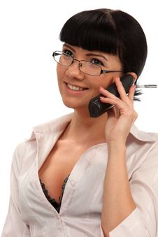Businesswoman With A Phone Stock Image