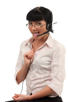 Free Call Center Operators Tongue Fitness Stock Images - 13937804