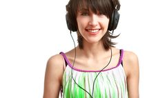 Happy Girl With Headphones Royalty Free Stock Image