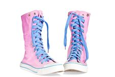 Free Two Pink Lace Boots Stock Photo - 13938080