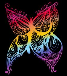 Free Abstract Butterfly Drawing Royalty Free Stock Image - 13938466