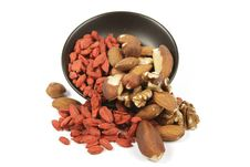Free Goji Berries And Nuts Spilling From A Bowl Stock Photography - 13938582