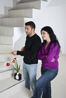 Couple  Planning In New House Royalty Free Stock Photos