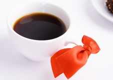 Free Coffee Cup With A Red Bow Stock Photo - 13939190