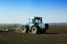 Free Tractor In The Field Stock Image - 13939531