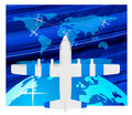 Free Travel Plane On Map Royalty Free Stock Photography - 13940587
