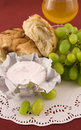 Free Fresh Bread With Grapes And Cheese Stock Photography - 13941372