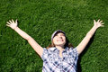 Free Happy Girl Laying On The Green Grass Stock Photo - 13949800