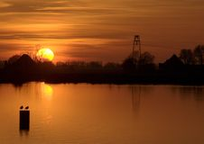 Dutch Landscapes - Dutch Sunset Royalty Free Stock Images