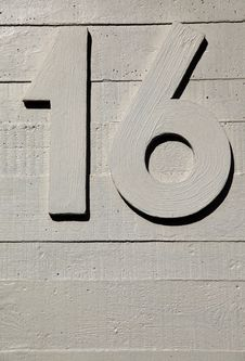Number Sixteen Concrete Wall Royalty Free Stock Photo