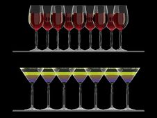 Free Red Wine And Martini Glasses On The Shelf Isolated Royalty Free Stock Photos - 13940768