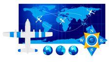 Travel Plane On Map Stock Photos