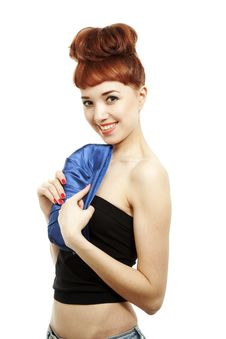 Free Girl With Blue Bag Royalty Free Stock Image - 13941106