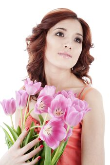 Free Girl With Tulips Royalty Free Stock Photography - 13941157