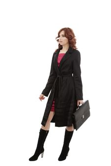 Girl With Black Briefcase Royalty Free Stock Images