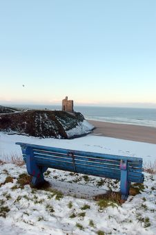Free Atlantic Winter Bench Views Royalty Free Stock Image - 13942746