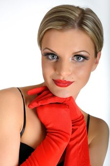 Free Elegant Beauty Female Face With Red Shiny Lips Stock Photography - 13942942