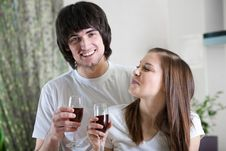 Free Boy And Nice Girl With Wineglasses Stock Images - 13943074