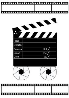 Free Movie Director Clapperboard And Film Strip Stock Photo - 13943250