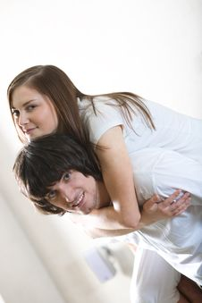 Free Boy With Beautiful Girl In White T-shirt Stock Image - 13943331