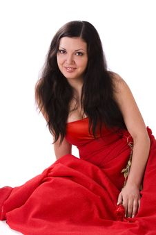 Beautiful Young Woman In Red Long Dress Stock Images