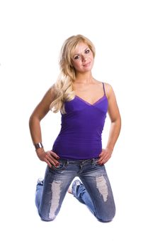 Blond Woman In Jeans With Smoky Eyes Make-up Stock Image
