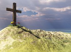 Free Cross On Mountain Top Royalty Free Stock Photo - 13946195