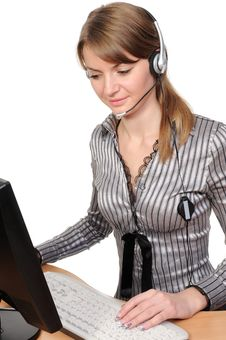 Free Customer Representative With Headset Royalty Free Stock Image - 13946426