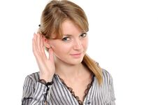 Young Woman Listening Gossip Stock Photo