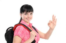 Free Woman With  A Backpack Royalty Free Stock Images - 13946459