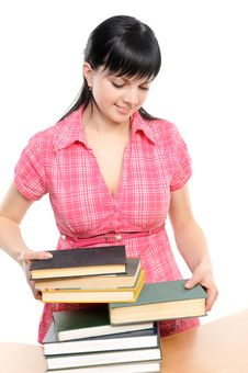 Free Young Woman With Books Stock Photos - 13946463