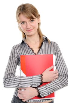 Free Business Woman With A Folder Stock Photo - 13946500