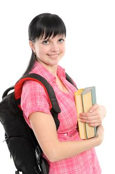 Free Young Woman With Book And Backpack Stock Image - 13946571