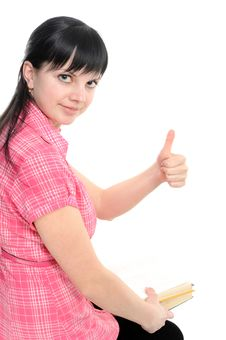 Woman With Thumbs Ok; With Book; Royalty Free Stock Photography