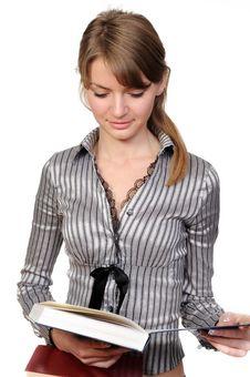 Beautiful Woman With Book Stock Photos