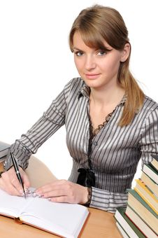 Free Businesswoman With  Books On Table Stock Images - 13946614