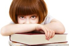 Free Little Girl Lying On Books Stock Images - 13947954