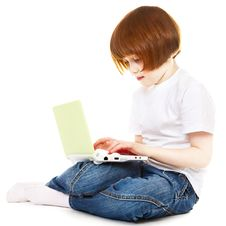 Free Little Girl Using Laptop Stock Images - 13948024
