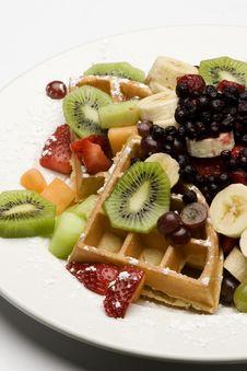 Free Waffle Plate Garnished With Fresh Fruit Stock Photo - 13948860