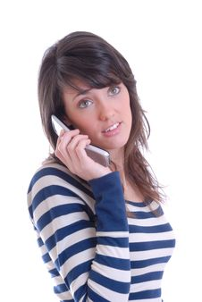 Free Pretty Brunette On Phone Royalty Free Stock Images - 13949349
