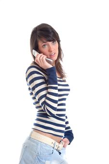Free Pretty Brunette On Phone Royalty Free Stock Images - 13949359